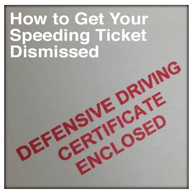Speeding Ticket Dismissal Defensive Driving Certificate