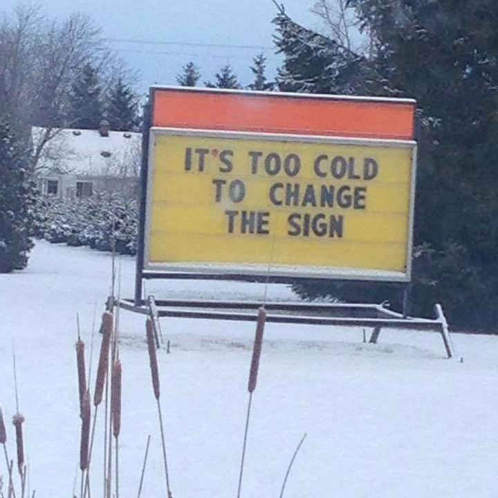 outdoor sign in the snow